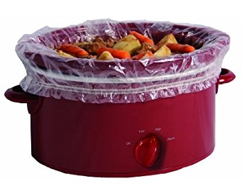 A slow cooker cooking food
