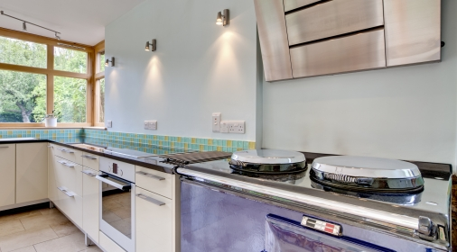 Modern kitchen with traditional oven