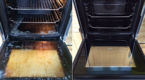 comparison of a clean and a dirty oven