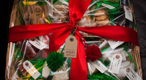A christmas hamper with red bow