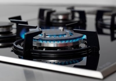 A gas oven hob
