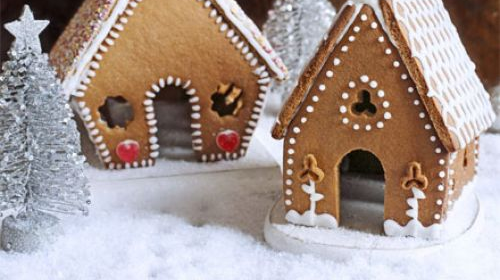 Homemade gingerbread houses with christmas decorations