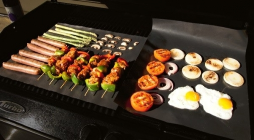 A BBQ cooking food