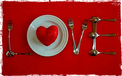 cutlery laid out to say love for valentines