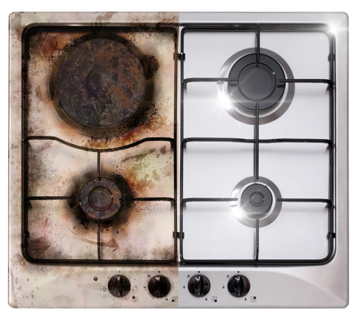 comparison of clean and dirty oven hob