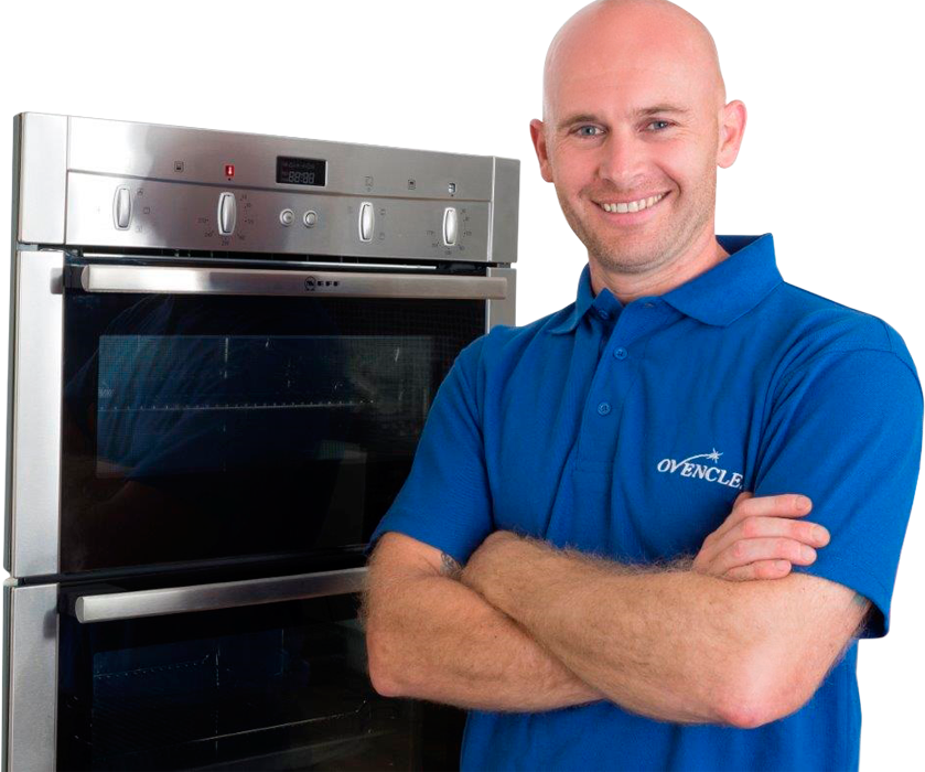 Ovenclean specialist stood in front of oven