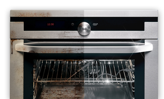 comparison of a clean and dirty oven